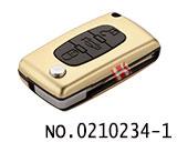 标致汽车3键遥控折叠匙铝合金壳(金色/0536/HU83)