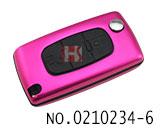 标致汽车3键遥控折叠匙铝合金壳(玫红色/0536/HU83)