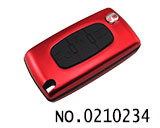 标致汽车3键遥控折叠匙铝合金壳(红色/0536/HU83)