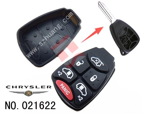 克莱斯勒汽车6键遥控替换胶皮高清图片